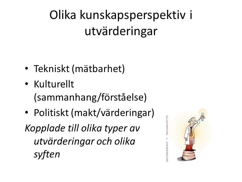 Olika kunskapsperspektiv i utvärderingar Tekniskt (mätbarhet) Kulturellt (sammanhang/förståelse) Politiskt (makt/värderingar) Kopplade till olika typer av utvärderingar och olika syften