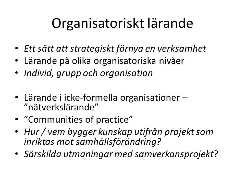 Organisatoriskt lärande Ett sätt att strategiskt förnya en verksamhet Lärande på olika organisatoriska nivåer Individ, grupp och organisation Lärande i icke-formella organisationer – nätverkslärande Communities of practice Hur / vem bygger kunskap utifrån projekt som inriktas mot samhällsförändring.