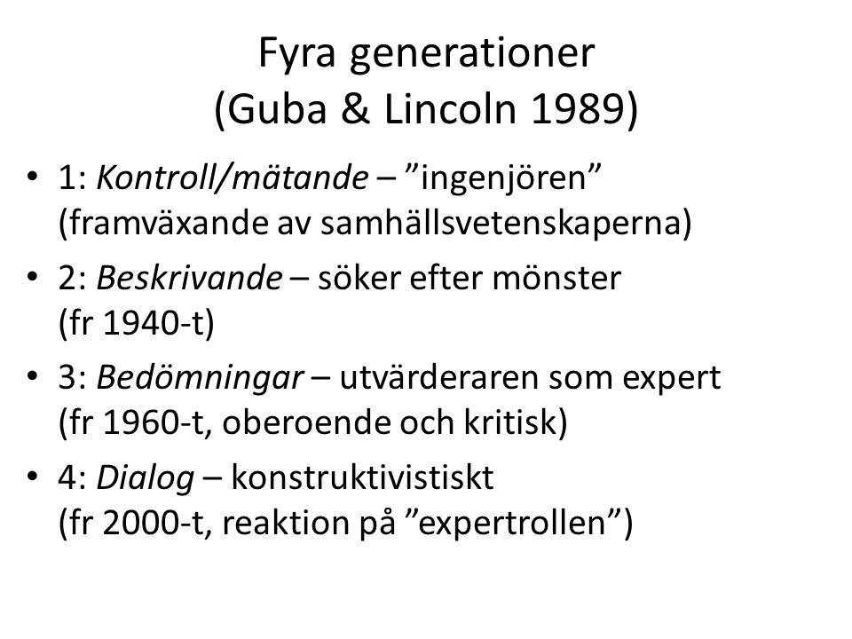 Fyra generationer (Guba & Lincoln 1989) 1: Kontroll/mätande – ingenjören (framväxande av samhällsvetenskaperna) 2: Beskrivande – söker efter mönster (fr 1940-t) 3: Bedömningar – utvärderaren som expert (fr 1960-t, oberoende och kritisk) 4: Dialog – konstruktivistiskt (fr 2000-t, reaktion på expertrollen )
