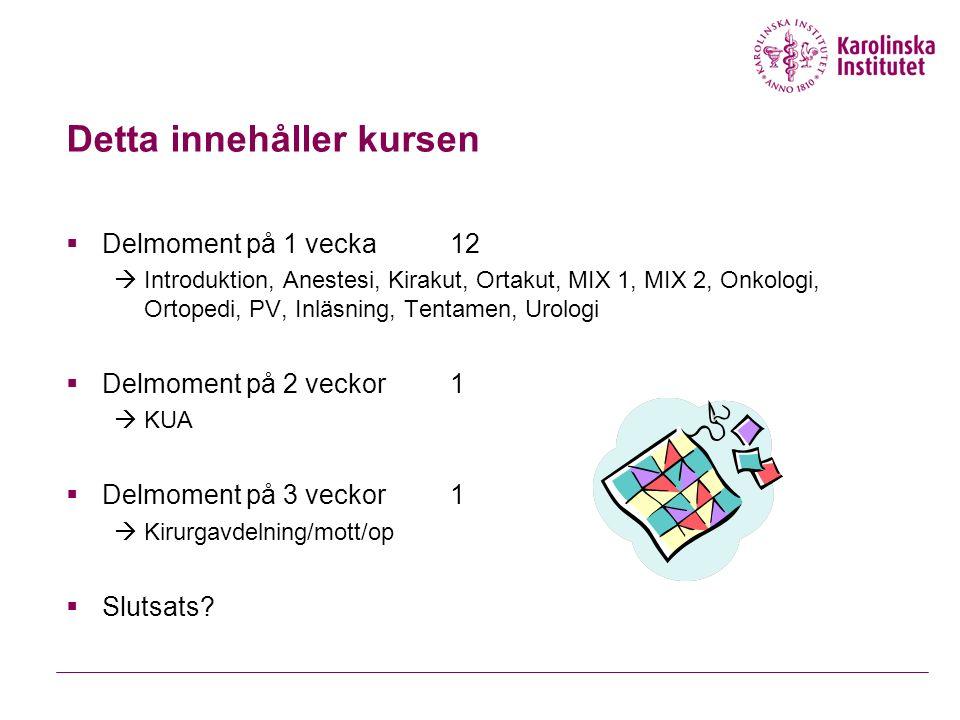 Detta innehåller kursen  Delmoment på 1 vecka12  Introduktion, Anestesi, Kirakut, Ortakut, MIX 1, MIX 2, Onkologi, Ortopedi, PV, Inläsning, Tentamen