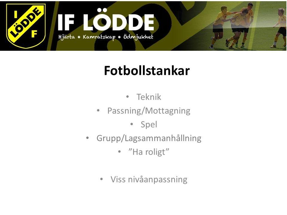Fotbollstankar Teknik Passning/Mottagning Spel Grupp/Lagsammanhållning Ha roligt Viss nivåanpassning