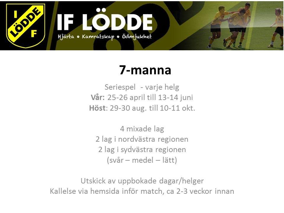 7-manna Seriespel - varje helg Vår: 25-26 april till 13-14 juni Höst: 29-30 aug.
