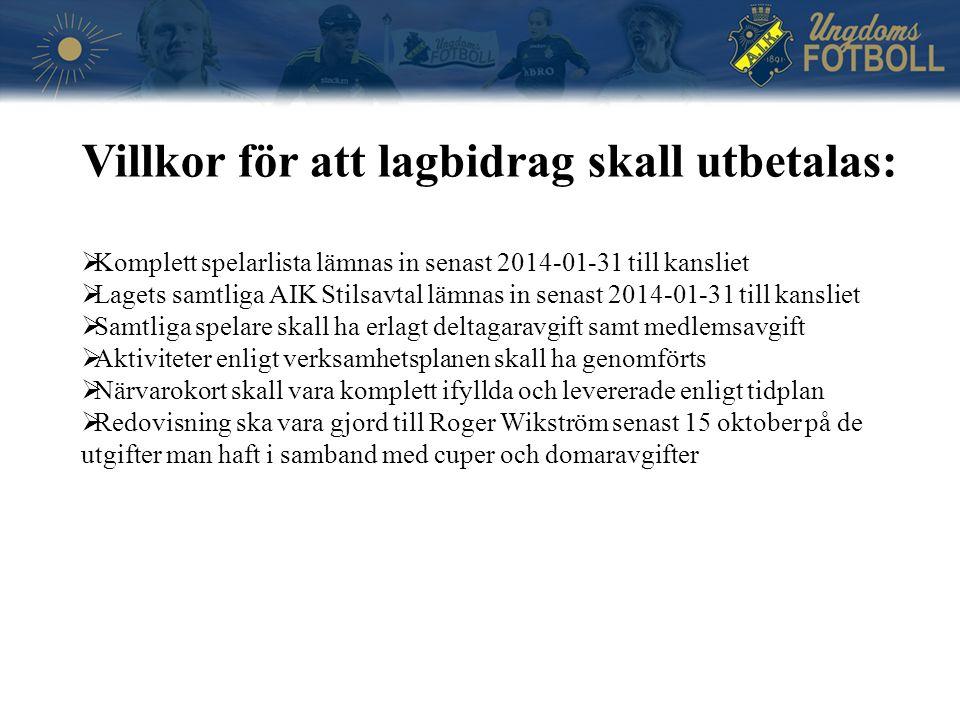 Villkor för att lagbidrag skall utbetalas:  Komplett spelarlista lämnas in senast 2014-01-31 till kansliet  Lagets samtliga AIK Stilsavtal lämnas in