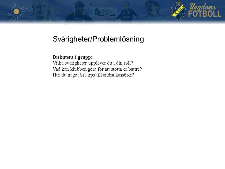 Svårigheter/Problemlösning Diskutera i grupp: Vilka svårigheter upplever du i din roll? Vad kan klubben göra för att stötta er bättre? Har du något br