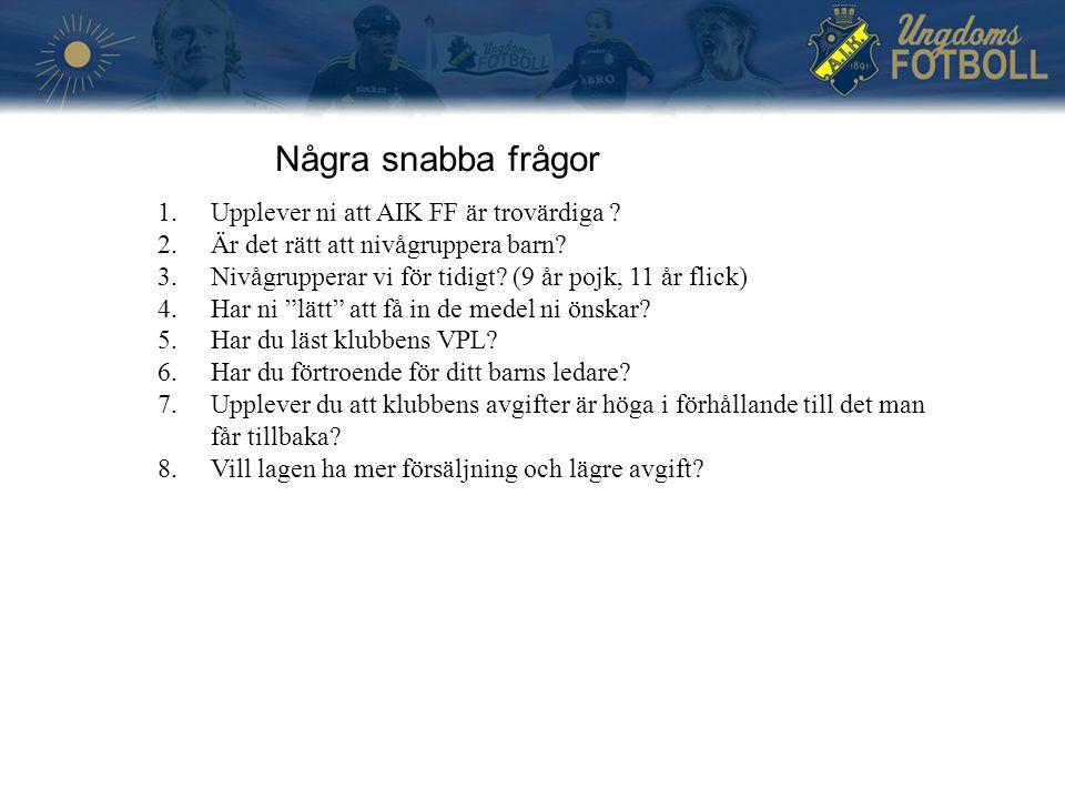 Några snabba frågor 1.Upplever ni att AIK FF är trovärdiga ? 2.Är det rätt att nivågruppera barn? 3.Nivågrupperar vi för tidigt? (9 år pojk, 11 år fli