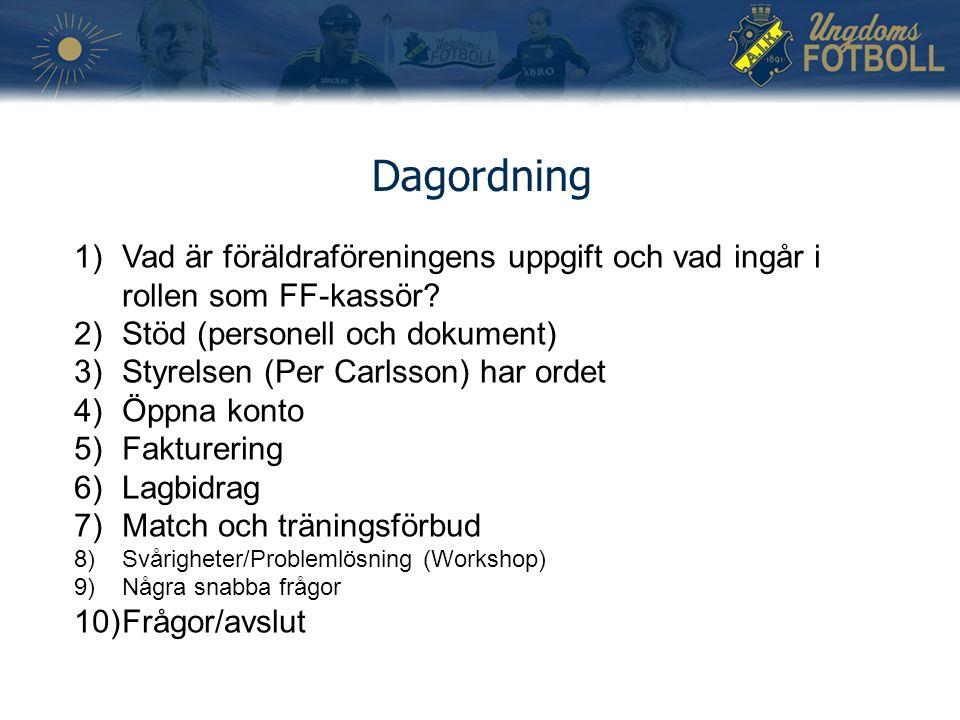 Dagordning 1)Vad är föräldraföreningens uppgift och vad ingår i rollen som FF-kassör? 2)Stöd (personell och dokument) 3)Styrelsen (Per Carlsson) har o