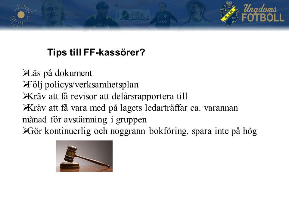 Tips till FF-kassörer.