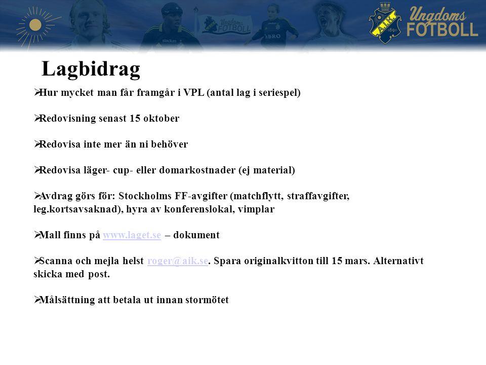  Hur mycket man får framgår i VPL (antal lag i seriespel)  Redovisning senast 15 oktober  Redovisa inte mer än ni behöver  Redovisa läger- cup- eller domarkostnader (ej material)  Avdrag görs för: Stockholms FF-avgifter (matchflytt, straffavgifter, leg.kortsavsaknad), hyra av konferenslokal, vimplar  Mall finns på www.laget.se – dokumentwww.laget.se  Scanna och mejla helst roger@aik.se.
