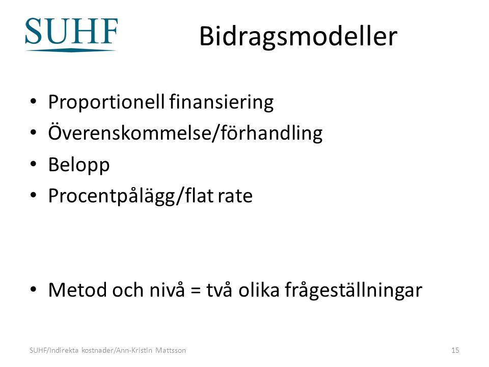 Bidragsmodeller Proportionell finansiering Överenskommelse/förhandling Belopp Procentpålägg/flat rate Metod och nivå = två olika frågeställningar SUHF/Indirekta kostnader/Ann-Kristin Mattsson15