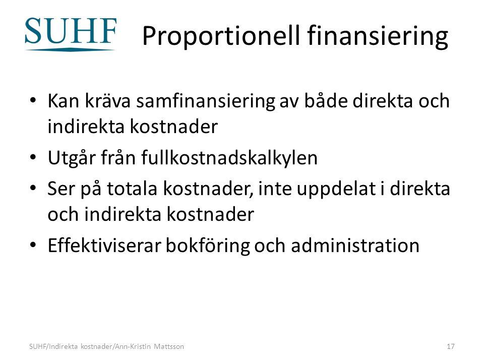 Proportionell finansiering Kan kräva samfinansiering av både direkta och indirekta kostnader Utgår från fullkostnadskalkylen Ser på totala kostnader, inte uppdelat i direkta och indirekta kostnader Effektiviserar bokföring och administration SUHF/Indirekta kostnader/Ann-Kristin Mattsson17