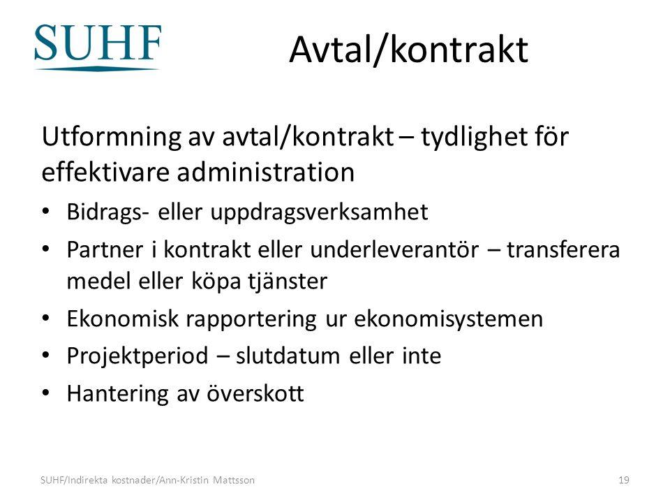 Avtal/kontrakt Utformning av avtal/kontrakt – tydlighet för effektivare administration Bidrags- eller uppdragsverksamhet Partner i kontrakt eller unde