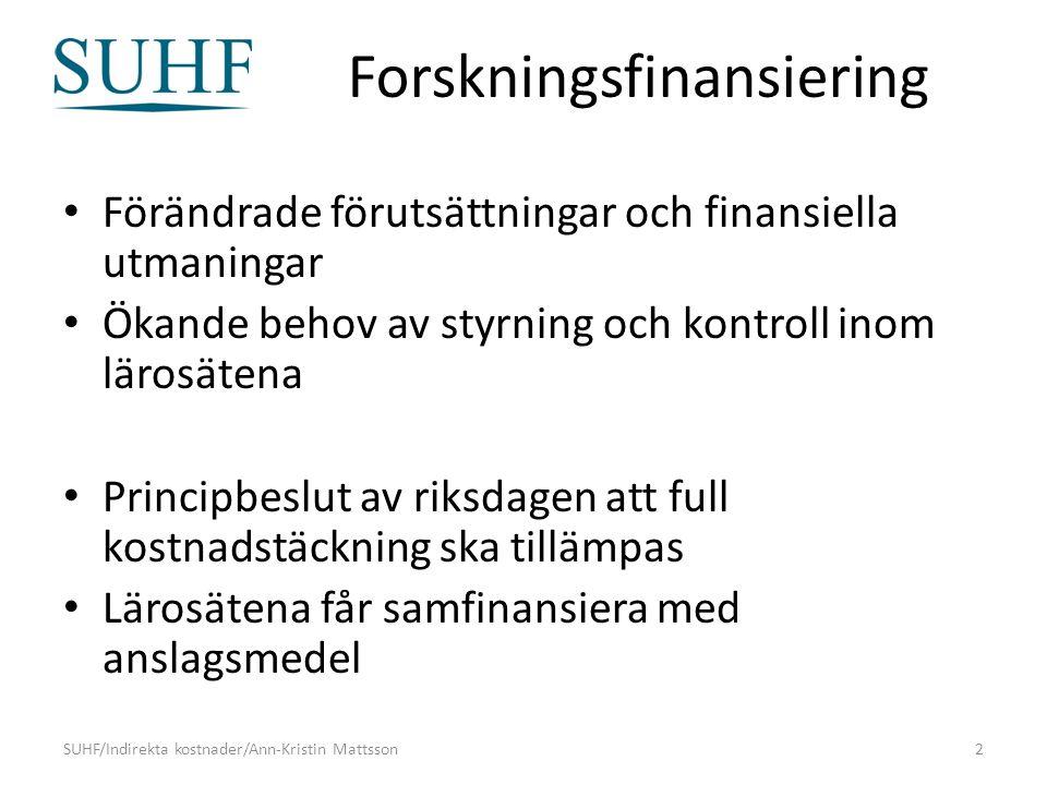 Forskningsfinansiering Förändrade förutsättningar och finansiella utmaningar Ökande behov av styrning och kontroll inom lärosätena Principbeslut av riksdagen att full kostnadstäckning ska tillämpas Lärosätena får samfinansiera med anslagsmedel SUHF/Indirekta kostnader/Ann-Kristin Mattsson2