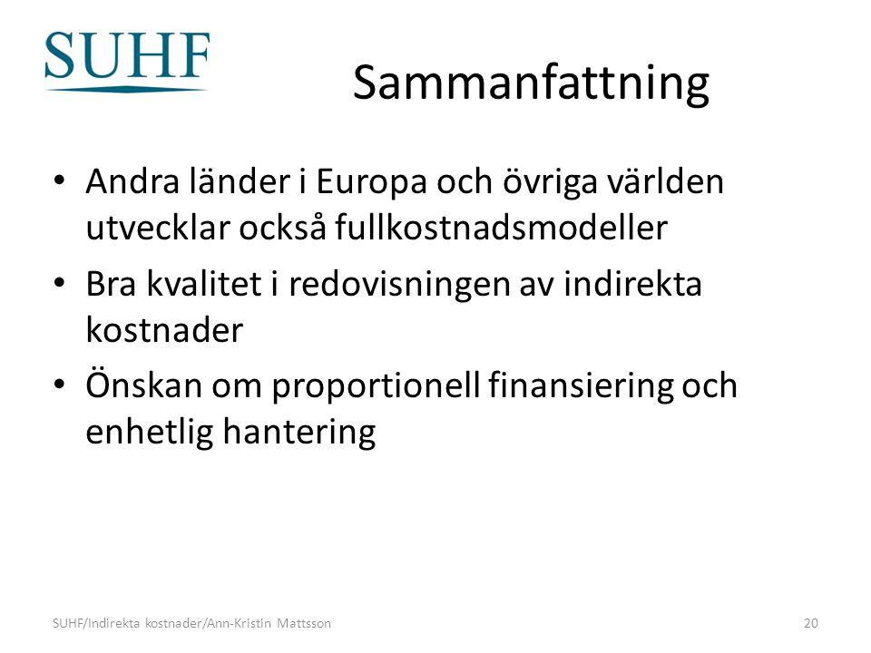 Sammanfattning Andra länder i Europa och övriga världen utvecklar också fullkostnadsmodeller Bra kvalitet i redovisningen av indirekta kostnader Önskan om proportionell finansiering och enhetlig hantering SUHF/Indirekta kostnader/Ann-Kristin Mattsson20