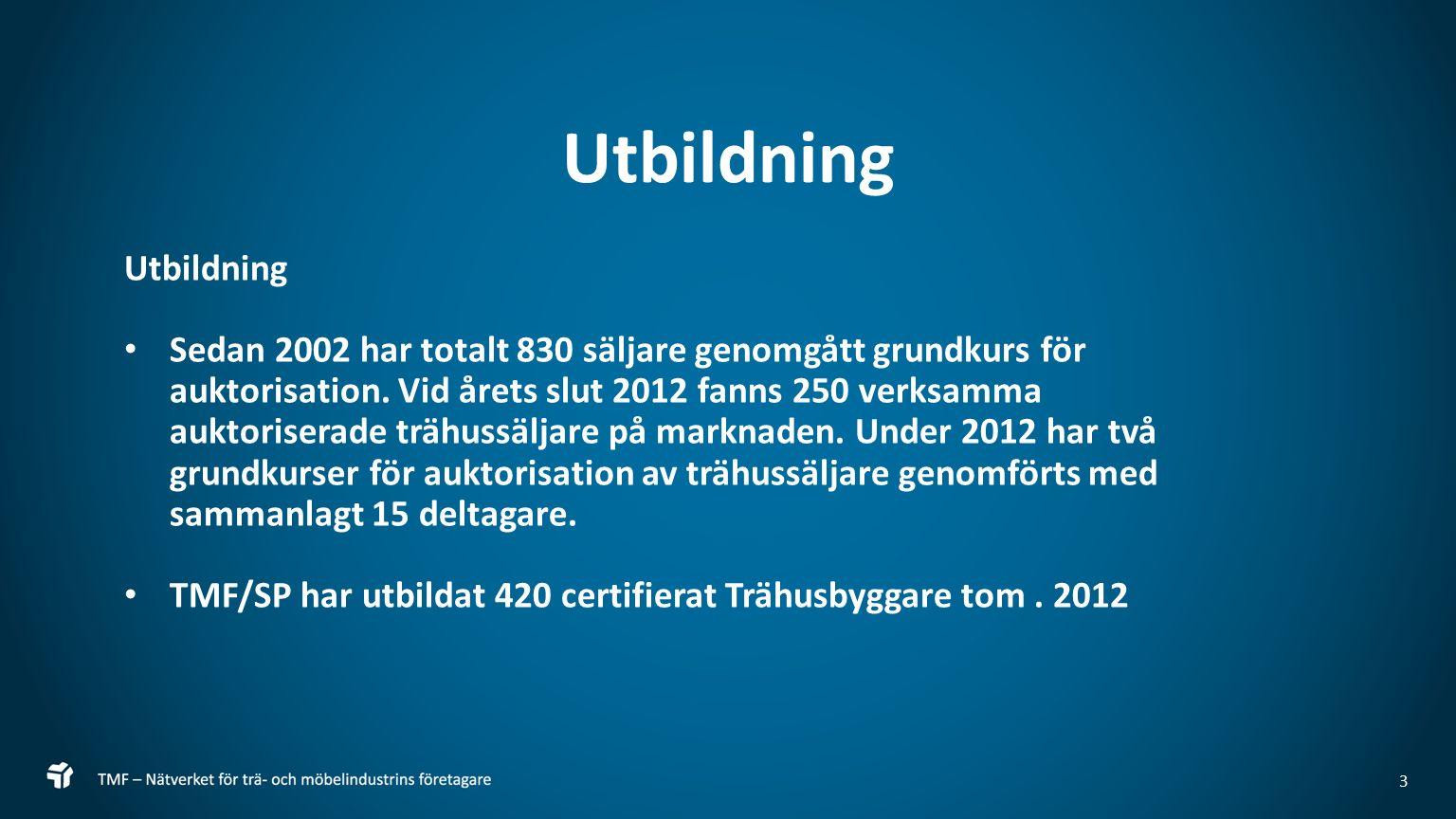 3 Utbildning Sedan 2002 har totalt 830 säljare genomgått grundkurs för auktorisation.
