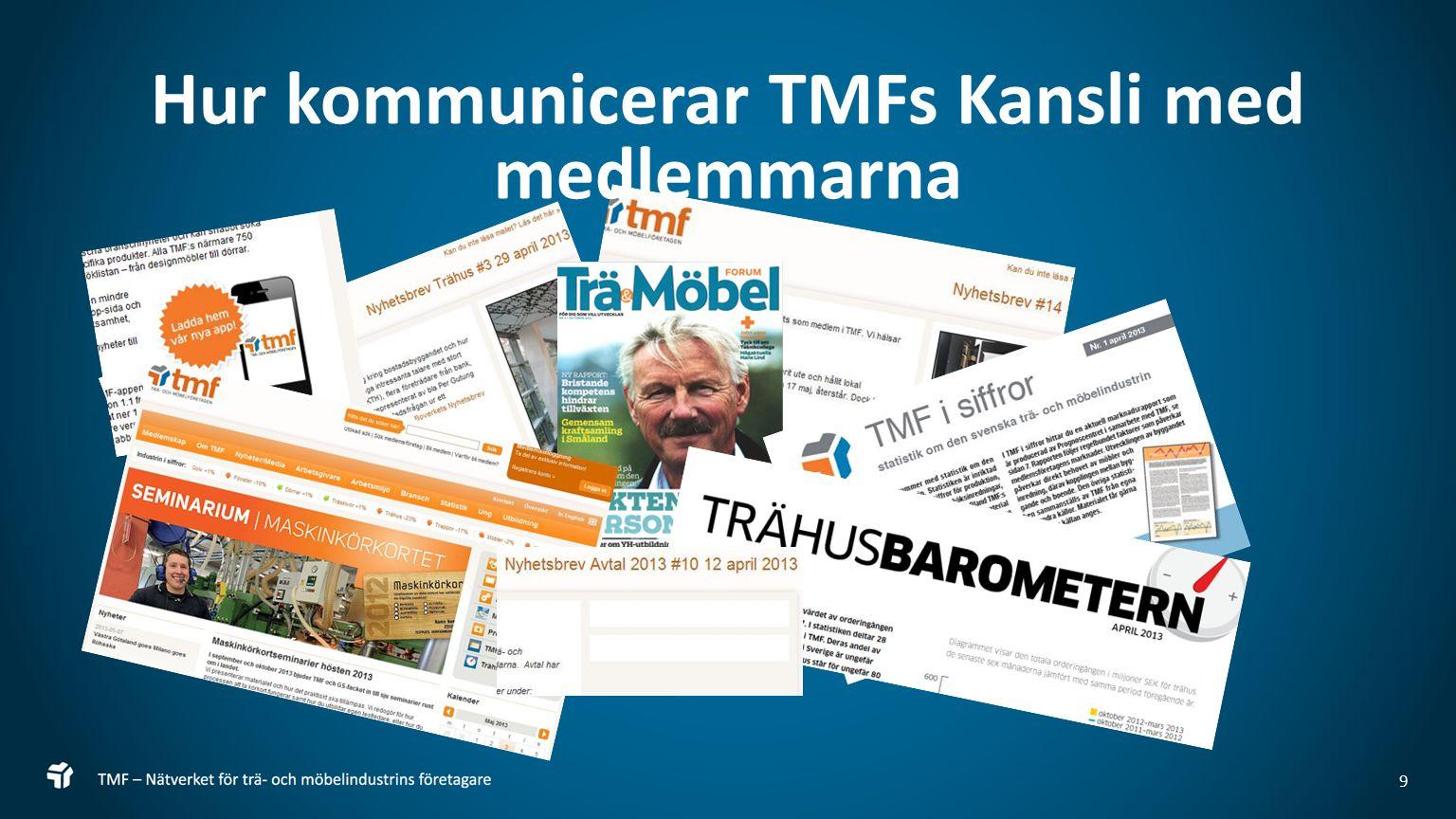 10 TMF Kommunikation Från och med nu ligger styrgruppsprotokollen på webben, bakom inloggning Trähusbrevet ligger från och med nu på öppna webben Enkäter och Mailförfrågningar Ger ofta låg svarsfrekvens, vi önskar bättring för bättre service