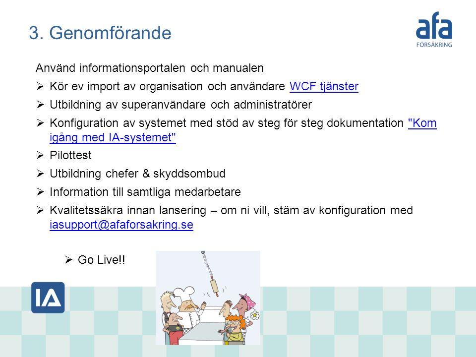 3. Genomförande Använd informationsportalen och manualen  Kör ev import av organisation och användare WCF tjänsterWCF tjänster  Utbildning av supera