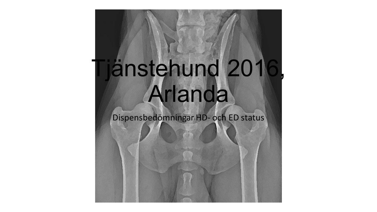 Tjänstehund 2016, Arlanda Dispensbedömningar HD- och ED status