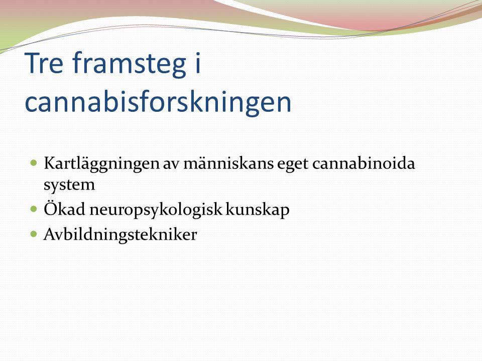Tre framsteg i cannabisforskningen Kartläggningen av människans eget cannabinoida system Ökad neuropsykologisk kunskap Avbildningstekniker