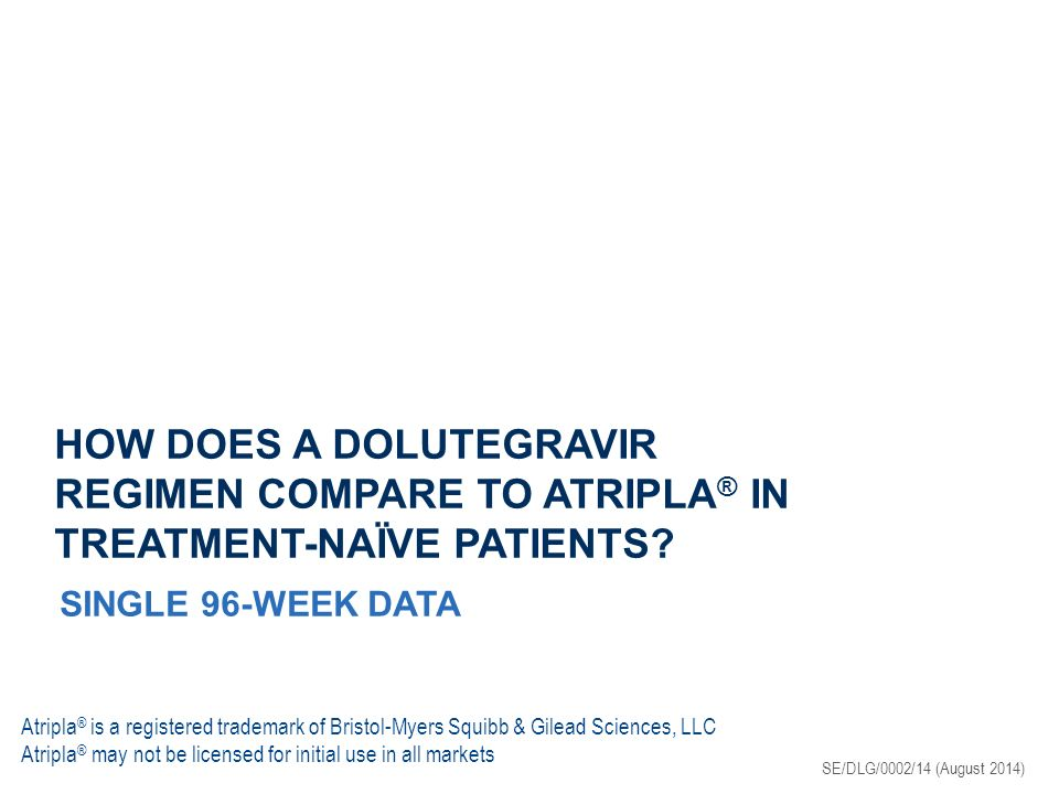 HOW DOES A DOLUTEGRAVIR REGIMEN COMPARE TO ATRIPLA ® IN TREATMENT-NAÏVE PATIENTS.