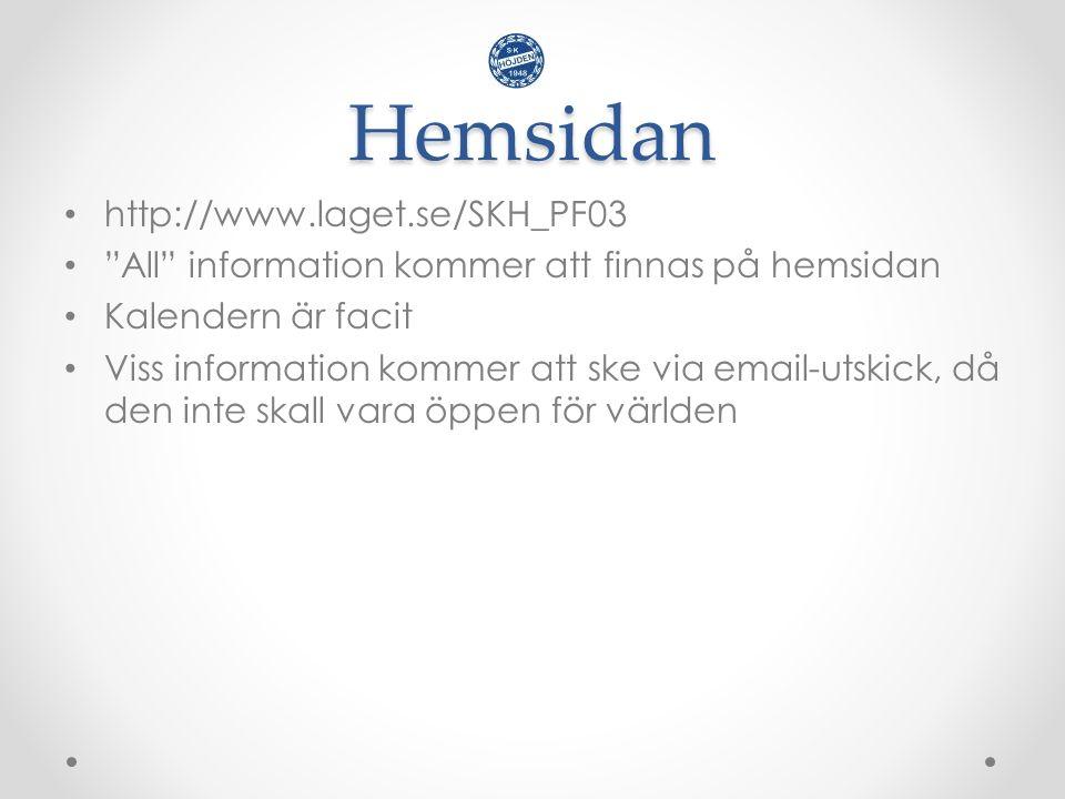 Hemsidan http://www.laget.se/SKH_PF03 All information kommer att finnas på hemsidan Kalendern är facit Viss information kommer att ske via email-utskick, då den inte skall vara öppen för världen