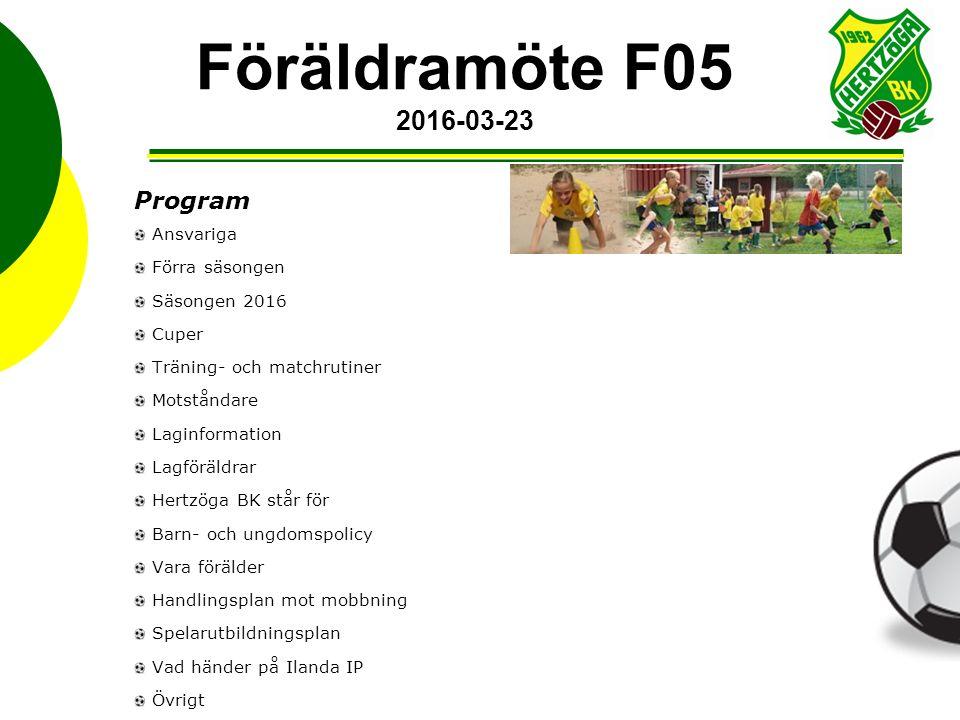 Program Ansvariga Förra säsongen Säsongen 2016 Cuper Träning- och matchrutiner Motståndare Laginformation Lagföräldrar Hertzöga BK står för Barn- och
