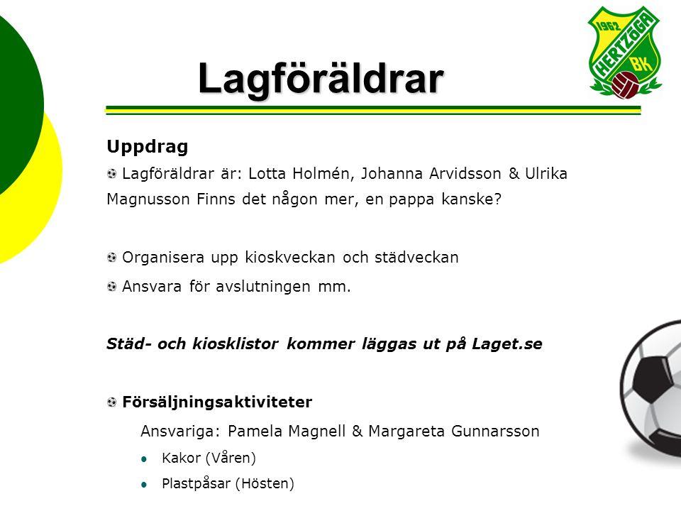 Lagföräldrar Uppdrag Lagföräldrar är: Lotta Holmén, Johanna Arvidsson & Ulrika Magnusson Finns det någon mer, en pappa kanske? Organisera upp kioskvec