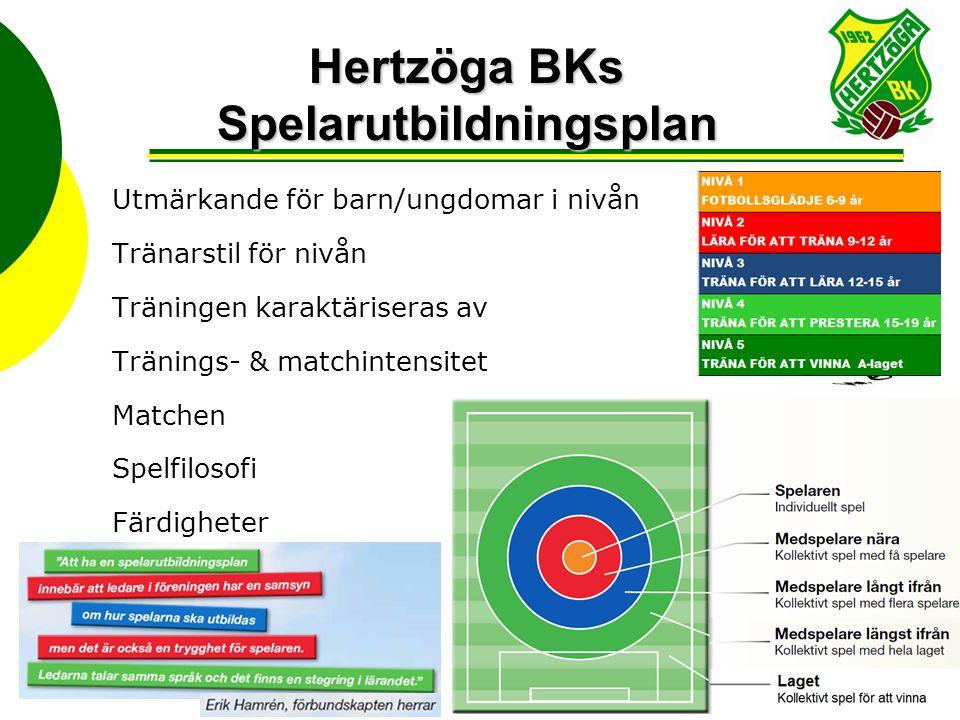 Hertzöga BKs Spelarutbildningsplan Utmärkande för barn/ungdomar i nivån Tränarstil för nivån Träningen karaktäriseras av Tränings- & matchintensitet Matchen Spelfilosofi Färdigheter