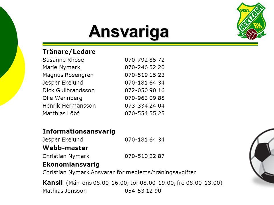 Ansvariga Tränare/Ledare Susanne Rhöse 070-792 85 72 Marie Nymark070-246 52 20 Magnus Rosengren070-519 15 23 Jesper Ekelund070-181 64 34 Dick Gullbran
