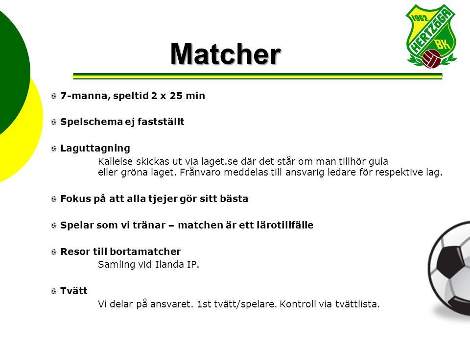 Matcher 7-manna, speltid 2 x 25 min Spelschema ej fastställt Laguttagning Kallelse skickas ut via laget.se där det står om man tillhör gula eller gröna laget.