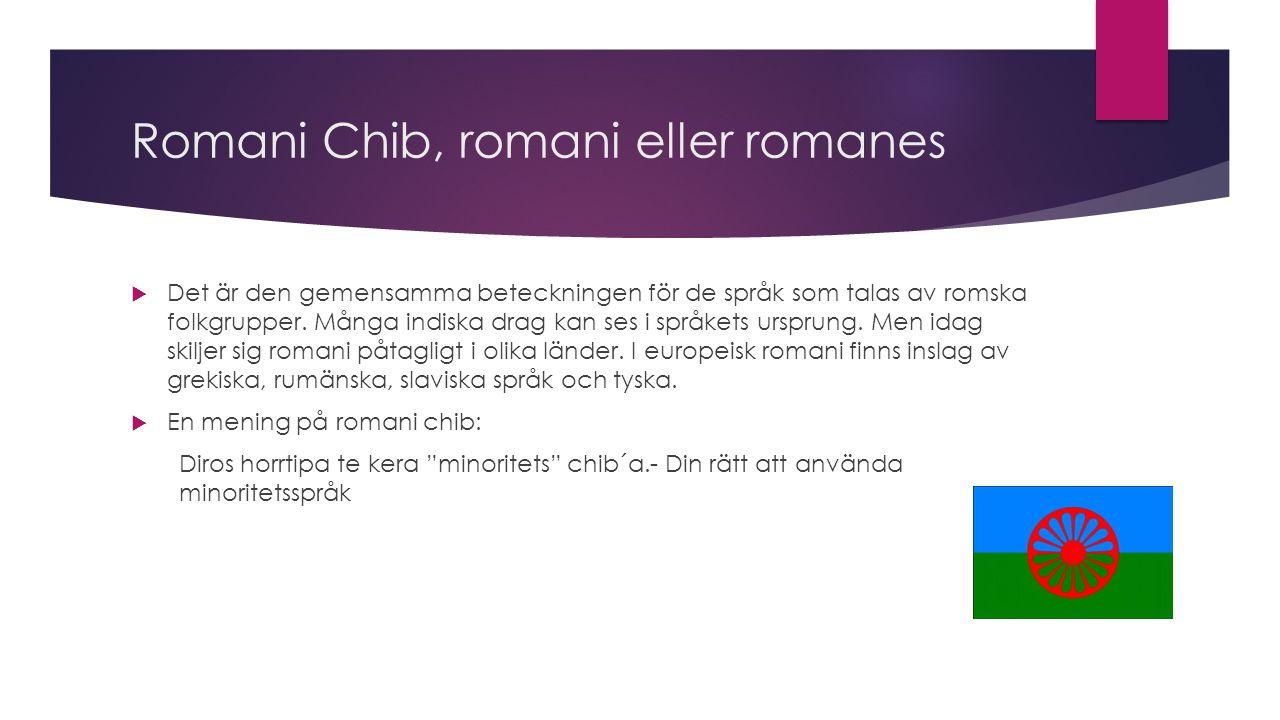 Romani Chib, romani eller romanes  Det är den gemensamma beteckningen för de språk som talas av romska folkgrupper.