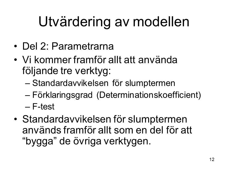 12 Utvärdering av modellen Del 2: Parametrarna Vi kommer framför allt att använda följande tre verktyg: –Standardavvikelsen för slumptermen –Förklarin