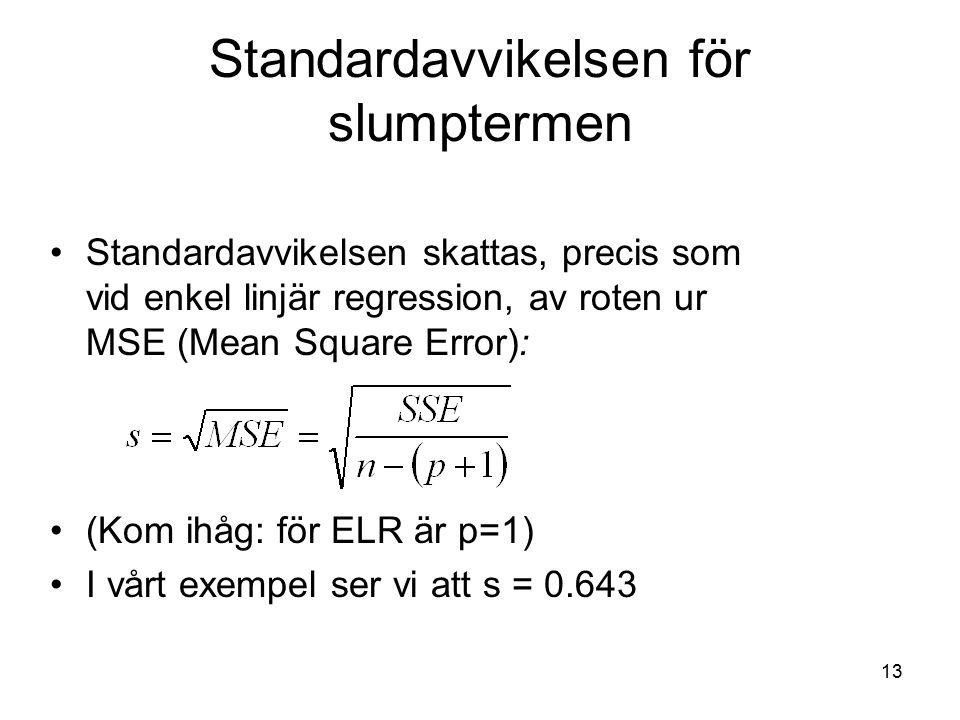 13 Standardavvikelsen för slumptermen Standardavvikelsen skattas, precis som vid enkel linjär regression, av roten ur MSE (Mean Square Error): (Kom ihåg: för ELR är p=1) I vårt exempel ser vi att s = 0.643