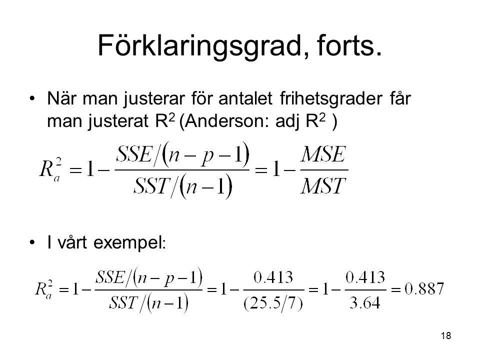 18 Förklaringsgrad, forts. När man justerar för antalet frihetsgrader får man justerat R 2 (Anderson: adj R 2 ) I vårt exempel :