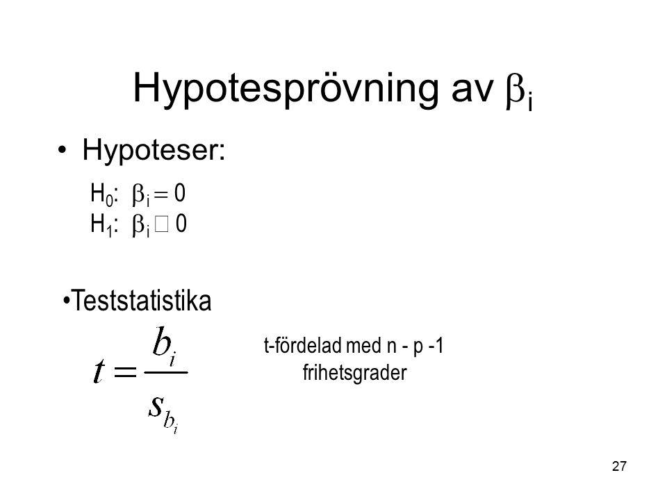 27 Hypoteser: H 0 :  i  0 H 1 :  i  0 t-fördelad med n - p -1 frihetsgrader Teststatistika Hypotesprövning av  i
