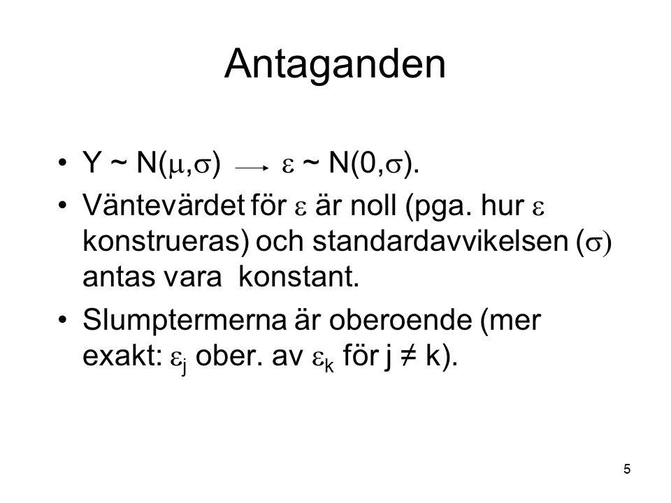 5 Y ~ N( ,  )  ~ N(0,  ). Väntevärdet för  är noll (pga. hur  konstrueras) och standardavvikelsen (  antas vara konstant. Slumptermerna