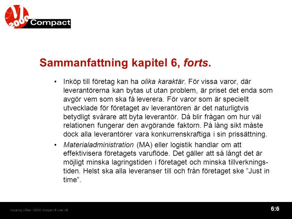 6:6 Kopiering tillåten. M2000 Compact © Liber AB Sammanfattning kapitel 6, forts.