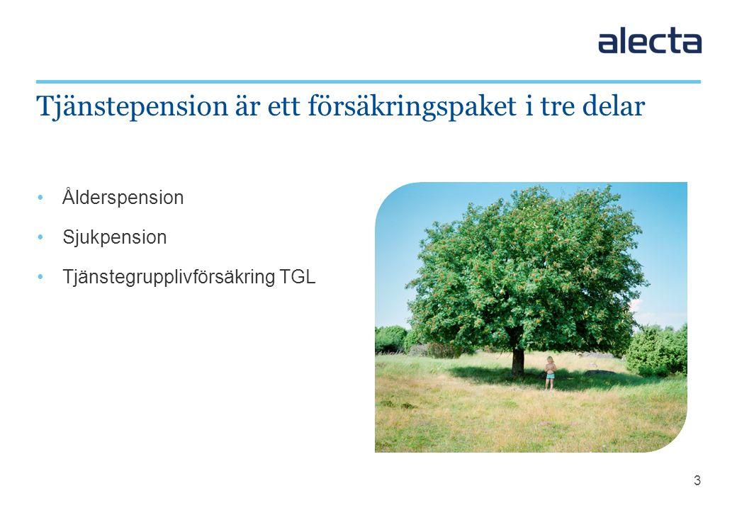 3 Ålderspension Sjukpension Tjänstegrupplivförsäkring TGL Tjänstepension är ett försäkringspaket i tre delar