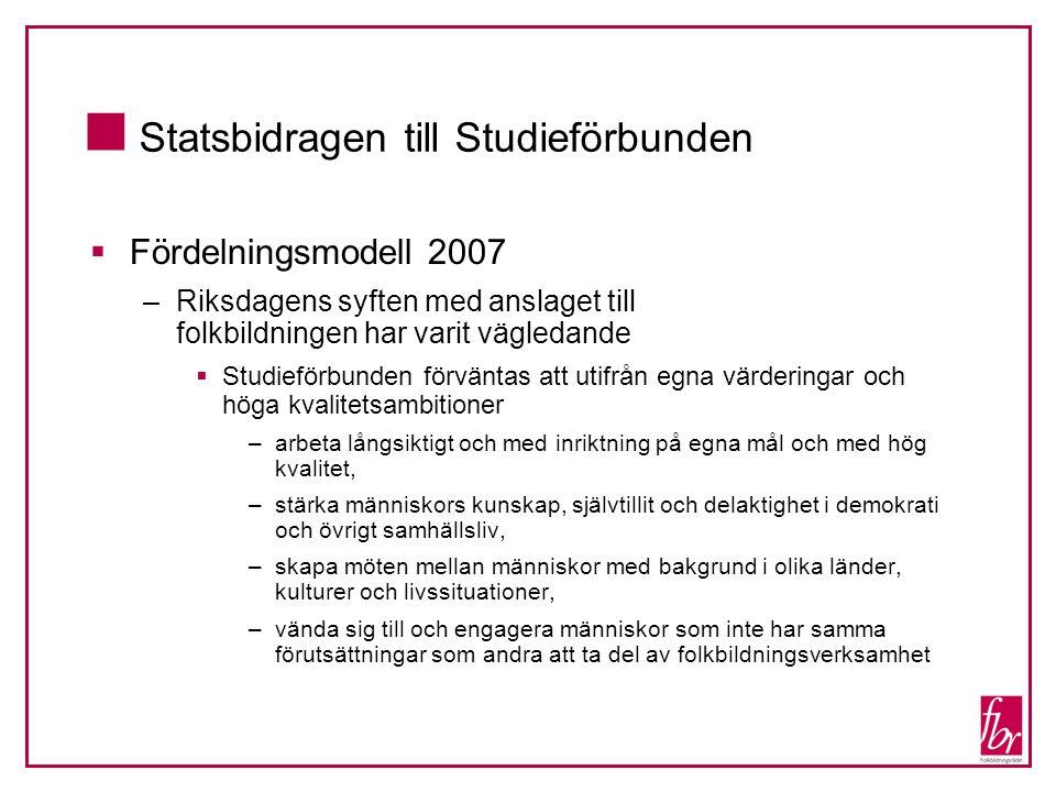  Statsbidragen till Studieförbunden  Fördelningsmodell 2007 –Riksdagens syften med anslaget till folkbildningen har varit vägledande  Studieförbund