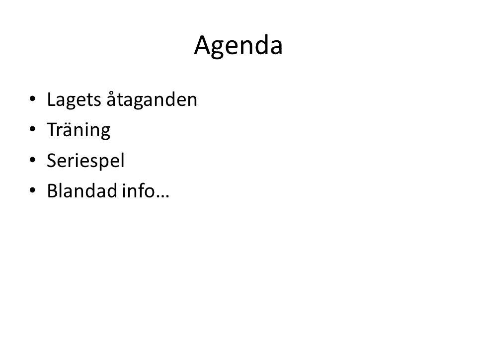 Agenda Lagets åtaganden Träning Seriespel Blandad info…