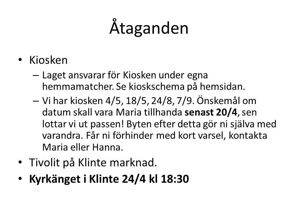 Åtaganden Kiosken – Laget ansvarar för Kiosken under egna hemmamatcher. Se kioskschema på hemsidan. – Vi har kiosken 4/5, 18/5, 24/8, 7/9. Önskemål om