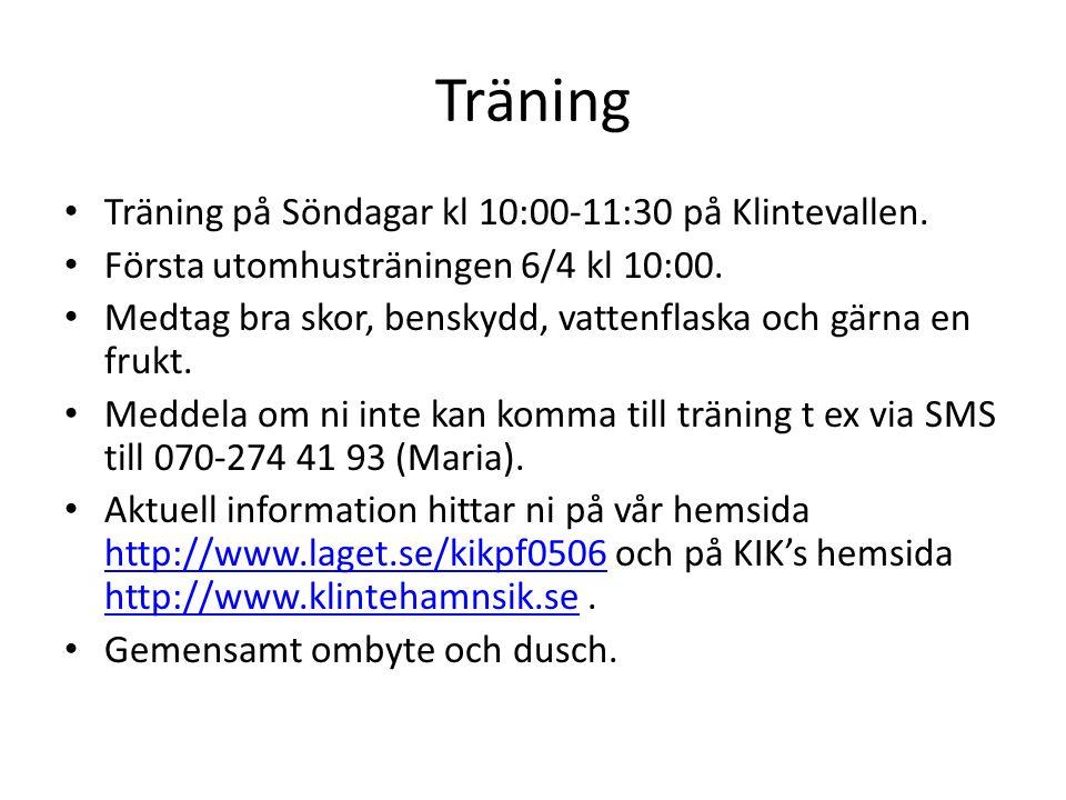 Träning Träning på Söndagar kl 10:00-11:30 på Klintevallen.