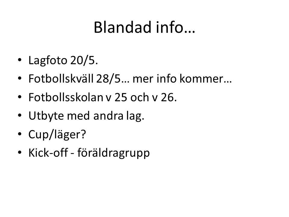 Blandad info… Lagfoto 20/5. Fotbollskväll 28/5… mer info kommer… Fotbollsskolan v 25 och v 26.