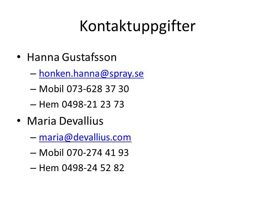 Kontaktuppgifter Hanna Gustafsson – honken.hanna@spray.se honken.hanna@spray.se – Mobil 073-628 37 30 – Hem 0498-21 23 73 Maria Devallius – maria@devallius.com maria@devallius.com – Mobil 070-274 41 93 – Hem 0498-24 52 82