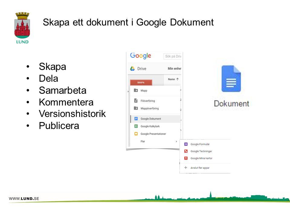Skapa ett dokument i Google Dokument Skapa Dela Samarbeta Kommentera Versionshistorik P ublicera