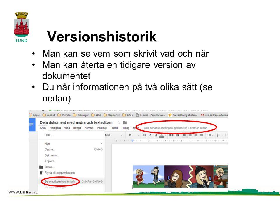 Versionshistorik Man kan se vem som skrivit vad och när Man kan återta en tidigare version av dokumentet Du når informationen på två olika sätt (se ne