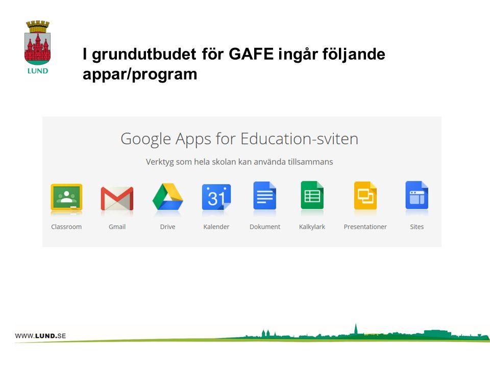 I grundutbudet för GAFE ingår följande appar/program