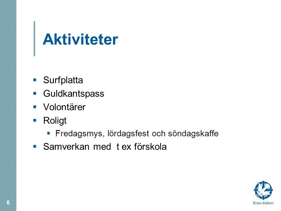 Aktiviteter  Surfplatta  Guldkantspass  Volontärer  Roligt  Fredagsmys, lördagsfest och söndagskaffe  Samverkan med t ex förskola 6