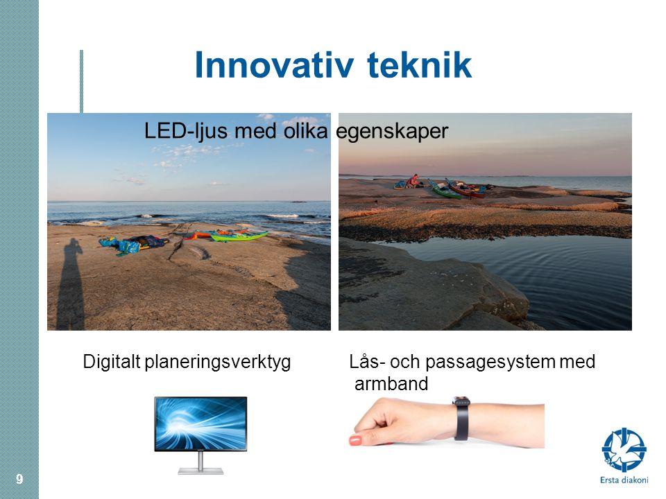 Innovativ teknik LED-ljus med olika egenskaper Digitalt planeringsverktyg Lås- och passagesystem med armband 9