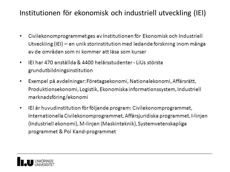 Institutionen för ekonomisk och industriell utveckling (IEI) 11 Civilekonomprogrammet ges av Institutionen för Ekonomisk och Industriell Utveckling (IEI) – en unik storinstitution med ledande forskning inom många av de områden som ni kommer att läsa som kurser IEI har 470 anställda & 4400 helårsstudenter - LiUs största grundutbildningsinstitution Exempel på avdelningar: Företagsekonomi, Nationalekonomi, Affärsrätt, Produktionsekonomi, Logistik, Ekonomiska informationssystem, Industriell marknadsföring/ekonomi IEI är huvudinstitution för följande program: Civilekonomprogrammet, Internationella Civilekonomprogrammet, Affärsjuridiska programmet, I-linjen (Industriell ekonomi), M-linjen (Maskinteknik), Systemvetenskapliga programmet & Pol Kand-programmet