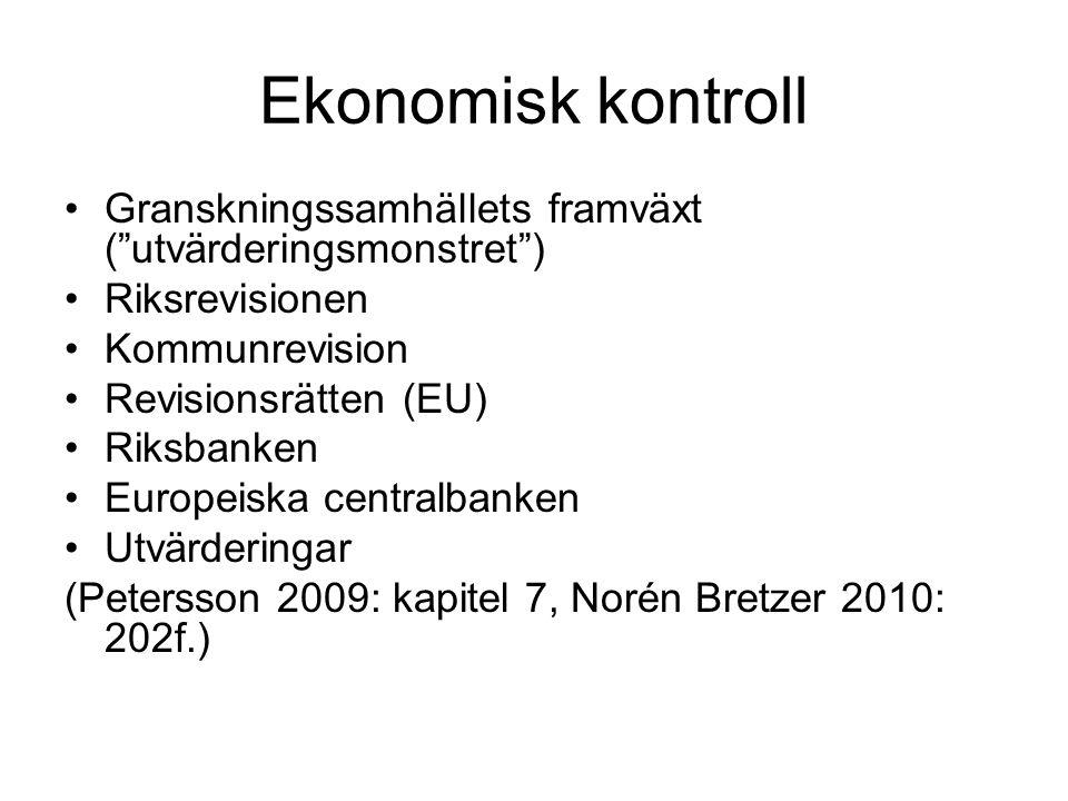 Ekonomisk kontroll Granskningssamhällets framväxt ( utvärderingsmonstret ) Riksrevisionen Kommunrevision Revisionsrätten (EU) Riksbanken Europeiska centralbanken Utvärderingar (Petersson 2009: kapitel 7, Norén Bretzer 2010: 202f.)